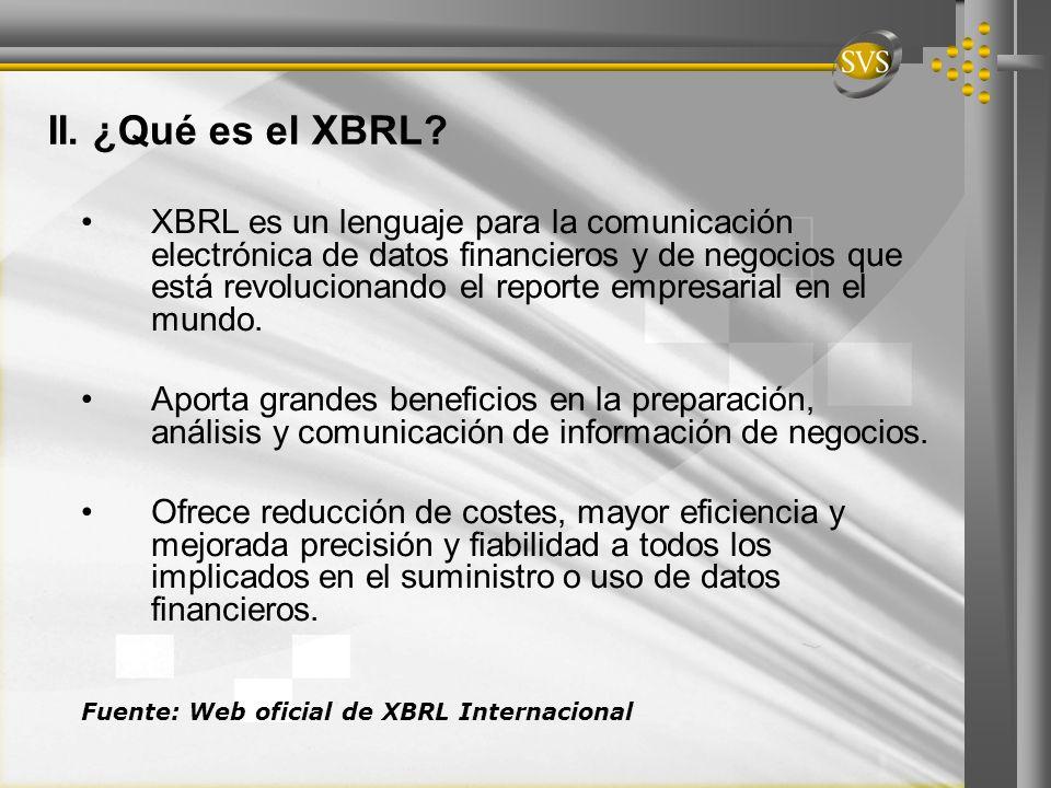 II. ¿Qué es el XBRL? XBRL es un lenguaje para la comunicación electrónica de datos financieros y de negocios que está revolucionando el reporte empres