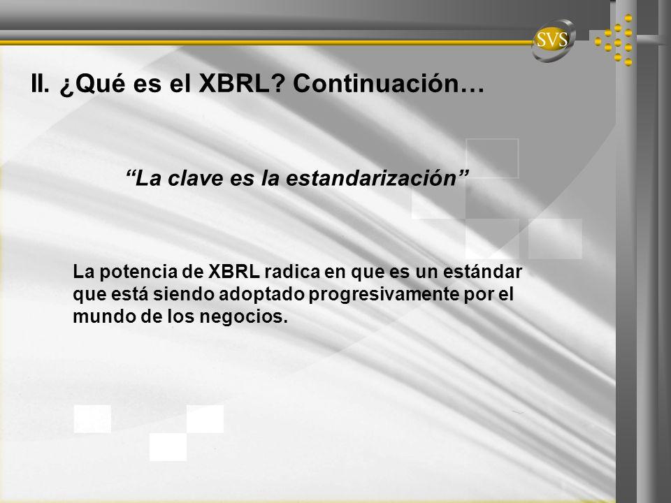 Estandarización: condición básica y necesaria Para el eficaz manejo de cualquier información Medio estándar : Internet Contenido estándar: Nuevas normas internacionales de contabilidad (IFRS) Continente estándar: Fichero informático en Lenguaje XML- XBRL 1 2 3 II.