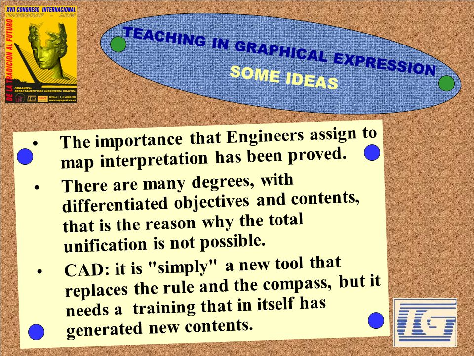 TEACHING IN GRAPHICAL EXPRESSION The importance that Engineers assign to map interpretation has been proved. There are many degrees, with differentiat