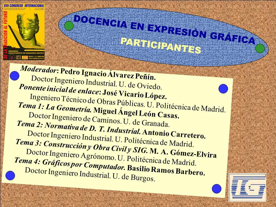 DOCENCIA EN EXPRESIÓN GRÁFICA Moderador: Pedro Ignacio Álvarez Peñín. Doctor Ingeniero Industrial. U. de Oviedo. Ponente inicial de enlace: José Vicar