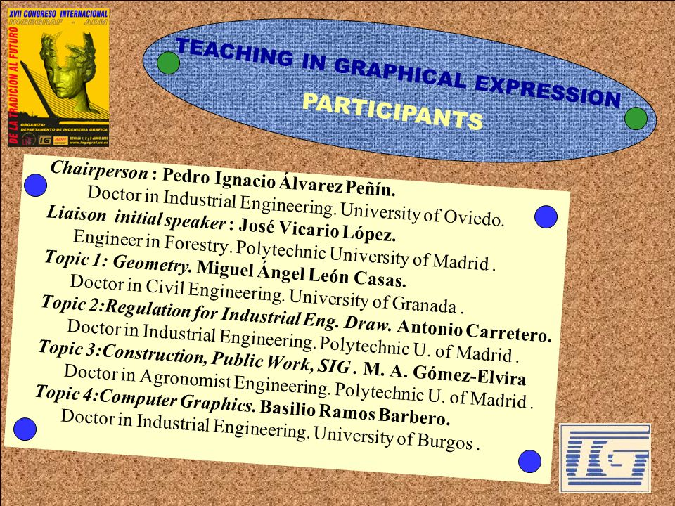TEACHING IN GRAPHICAL EXPRESSION Chairperson : Pedro Ignacio Álvarez Peñín. Doctor in Industrial Engineering. University of Oviedo. Liaison initial sp