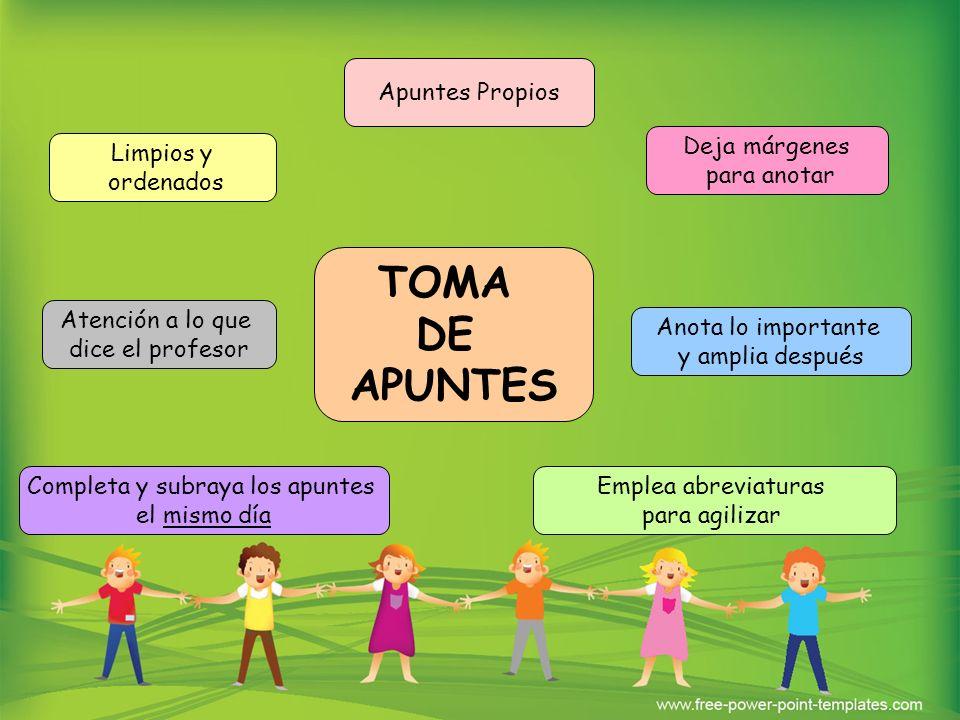 TOMA DE APUNTES Apuntes Propios Completa y subraya los apuntes el mismo día Atención a lo que dice el profesor Emplea abreviaturas para agilizar Anota