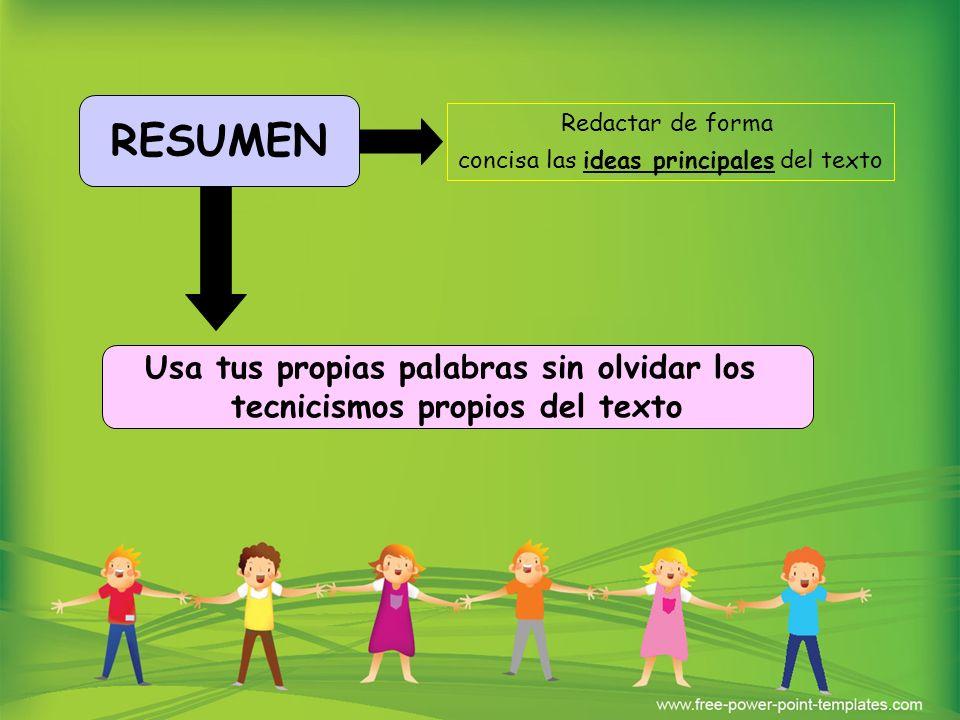 RESUMEN Usa tus propias palabras sin olvidar los tecnicismos propios del texto Redactar de forma concisa las ideas principales del texto