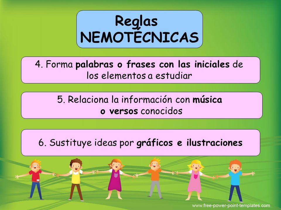 4. Forma palabras o frases con las iniciales de los elementos a estudiar 5. Relaciona la información con música o versos conocidos 6. Sustituye ideas