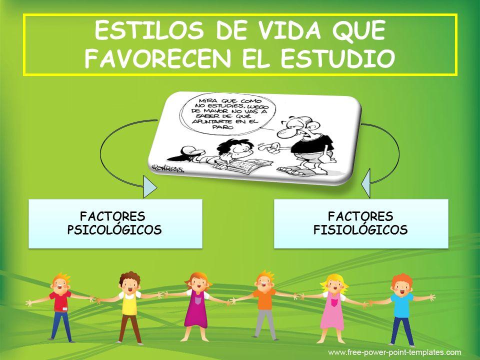 ESTILOS DE VIDA QUE FAVORECEN EL ESTUDIO FACTORES FISIOLÓGICOS FACTORES FISIOLÓGICOS FACTORES PSICOLÓGICOS FACTORES PSICOLÓGICOS