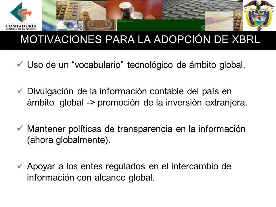 MOTIVACIONES PARA LA ADOPCIÓN DE XBRL Uso de un vocabulario tecnológico de ámbito global.