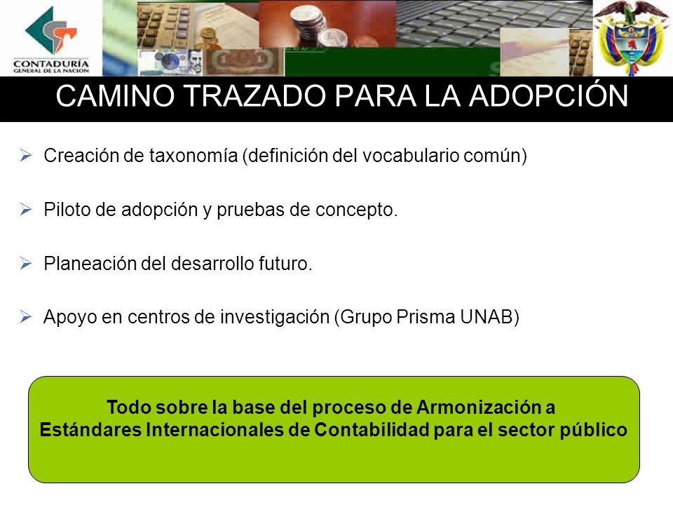 CAMINO TRAZADO PARA LA ADOPCIÓN Creación de taxonomía (definición del vocabulario común) Piloto de adopción y pruebas de concepto.