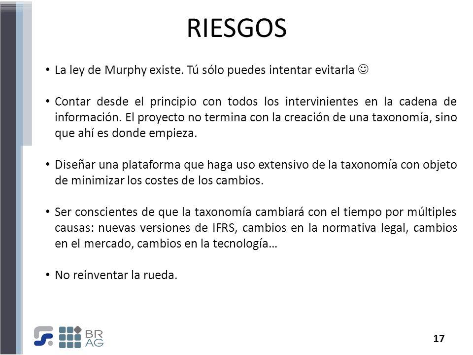 17 RIESGOS La ley de Murphy existe. Tú sólo puedes intentar evitarla Contar desde el principio con todos los intervinientes en la cadena de informació