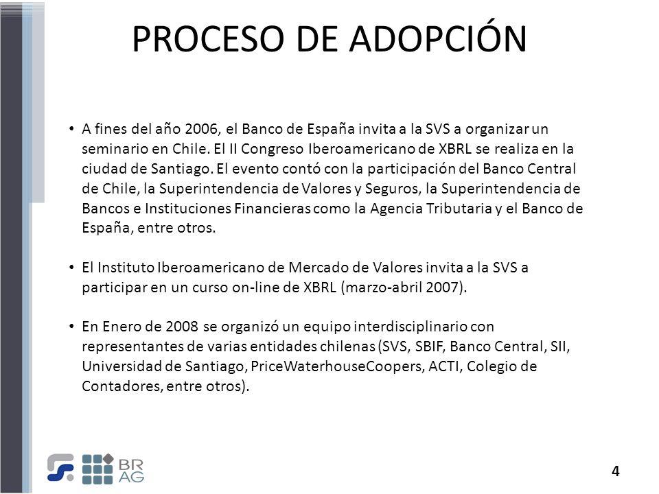 4 PROCESO DE ADOPCIÓN A fines del año 2006, el Banco de España invita a la SVS a organizar un seminario en Chile. El II Congreso Iberoamericano de XBR