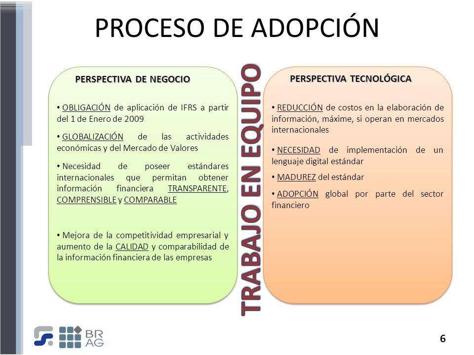 6 PROCESO DE ADOPCIÓN PERSPECTIVA DE NEGOCIO PERSPECTIVA TECNOLÓGICA OBLIGACIÓN de aplicación de IFRS a partir del 1 de Enero de 2009 GLOBALIZACIÓN de