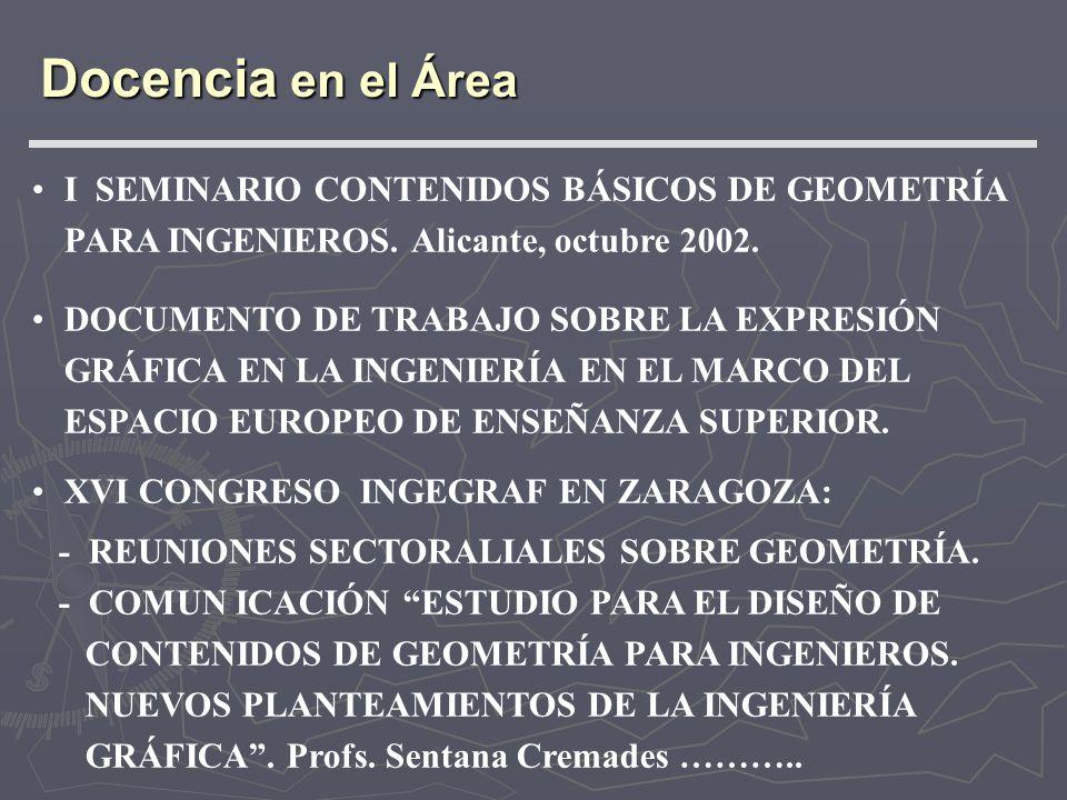 I SEMINARIO CONTENIDOS BÁSICOS DE GEOMETRÍA PARA INGENIEROS. Alicante, octubre 2002. DOCUMENTO DE TRABAJO SOBRE LA EXPRESIÓN GRÁFICA EN LA INGENIERÍA
