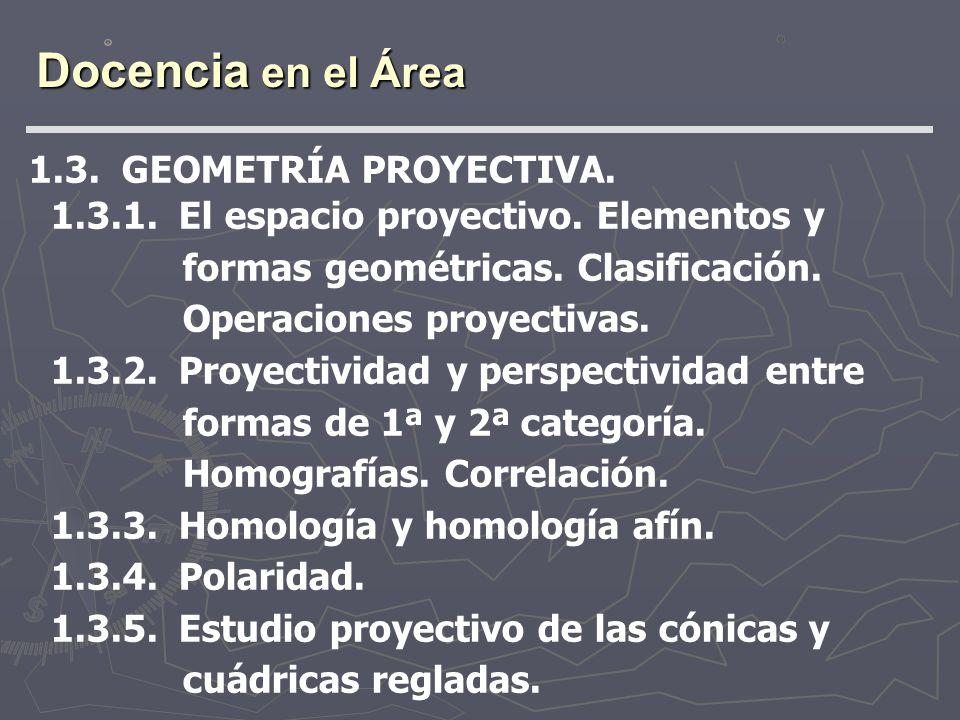 Docencia en el Área 1.3. GEOMETRÍA PROYECTIVA. 1.3.1. El espacio proyectivo. Elementos y formas geométricas. Clasificación. Operaciones proyectivas. 1