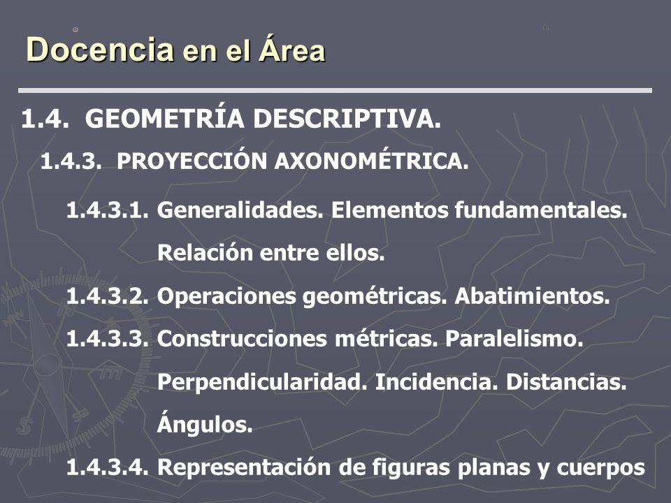 Docencia en el Área 1.4. GEOMETRÍA DESCRIPTIVA. 1.4.3. PROYECCIÓN AXONOMÉTRICA. 1.4.3.1. Generalidades. Elementos fundamentales. Relación entre ellos.