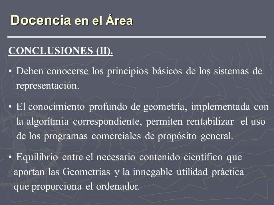 CONCLUSIONES (II). Deben conocerse los principios básicos de los sistemas de representación. El conocimiento profundo de geometría, implementada con l