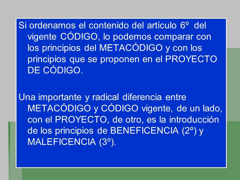 Si ordenamos el contenido del artículo 6º del vigente CÓDIGO, lo podemos comparar con los principios del METACÓDIGO y con los principios que se propon