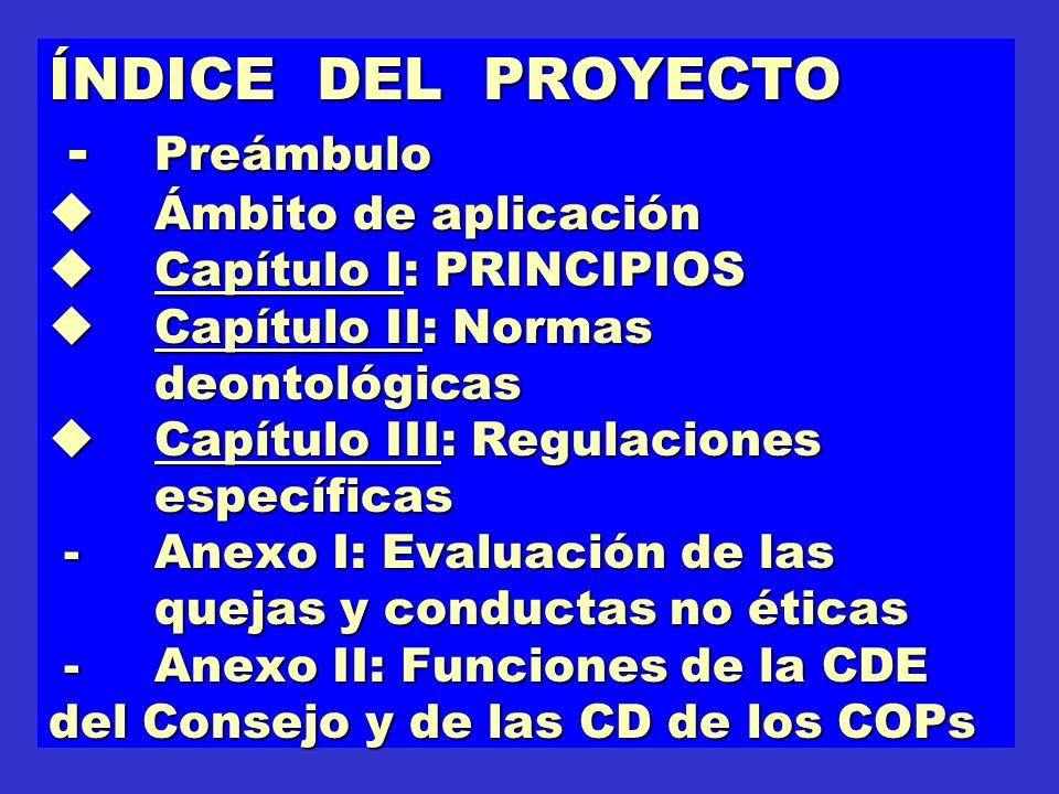 ÍNDICE DEL PROYECTO - Preámbulo Ámbito de aplicación Capítulo I: PRINCIPIOS Capítulo II: Normas deontológicas Capítulo III: Regulaciones específicas -