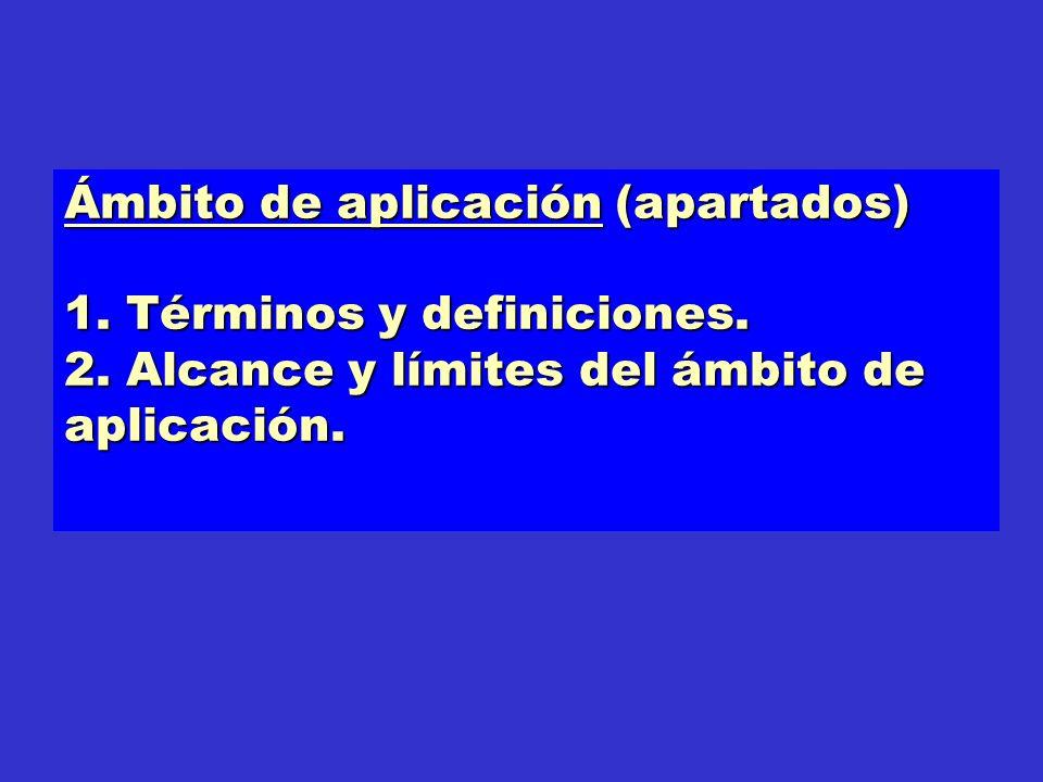 Ámbito de aplicación (apartados) 1. Términos y definiciones. 2. Alcance y límites del ámbito de aplicación.