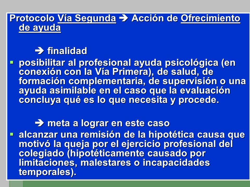Protocolo Vía Segunda Acción de Ofrecimiento de ayuda finalidad finalidad posibilitar al profesional ayuda psicológica (en conexión con la Vía Primera