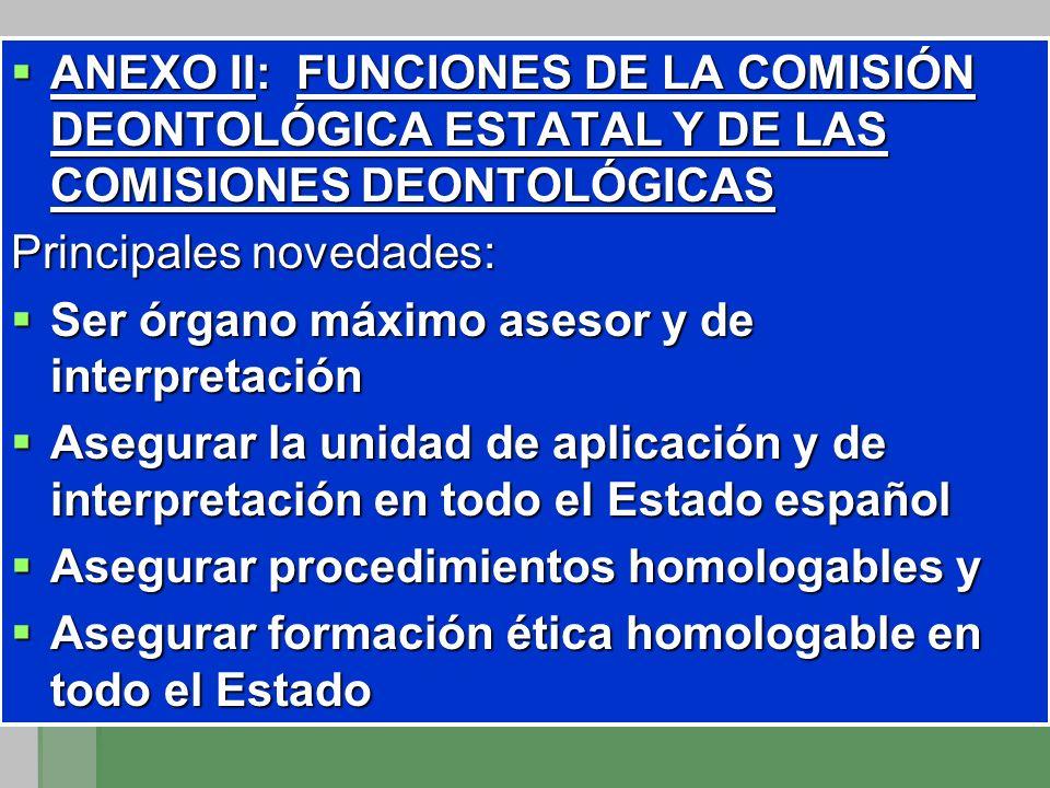 ANEXO II: FUNCIONES DE LA COMISIÓN DEONTOLÓGICA ESTATAL Y DE LAS COMISIONES DEONTOLÓGICAS ANEXO II: FUNCIONES DE LA COMISIÓN DEONTOLÓGICA ESTATAL Y DE