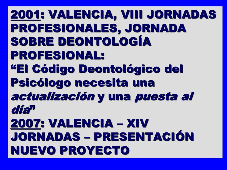 2001: VALENCIA, VIII JORNADAS PROFESIONALES, JORNADA SOBRE DEONTOLOGÍA PROFESIONAL: El Código Deontológico del Psicólogo necesita una actualización y