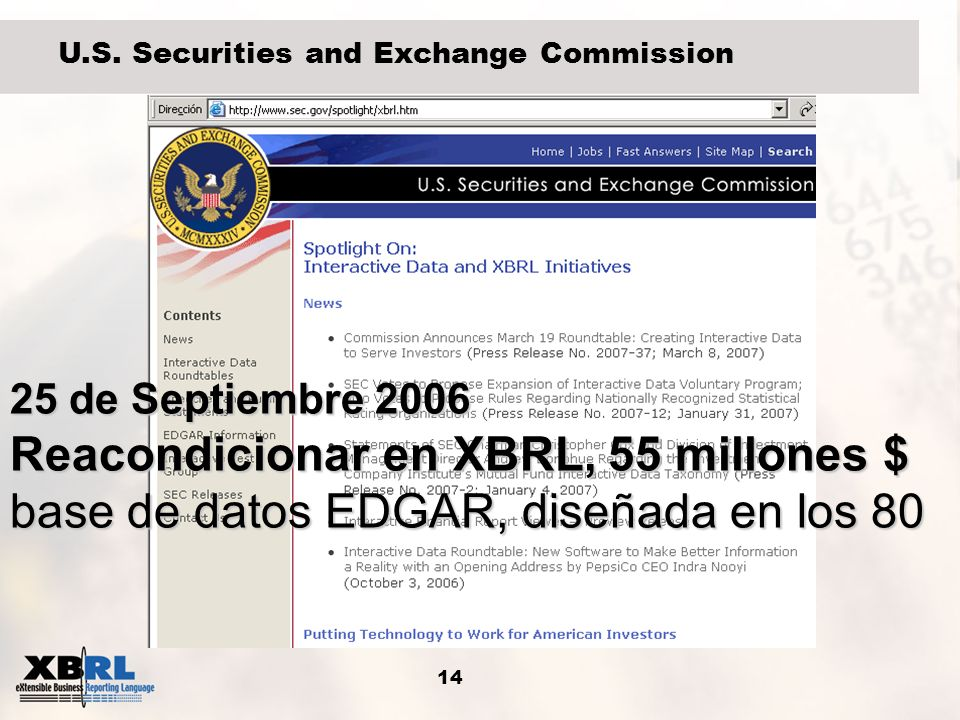 14 U.S. Securities and Exchange Commission 25 de Septiembre 2006 Reacondicionar en XBRL, 55 millones $ base de datos EDGAR, diseñada en los 80