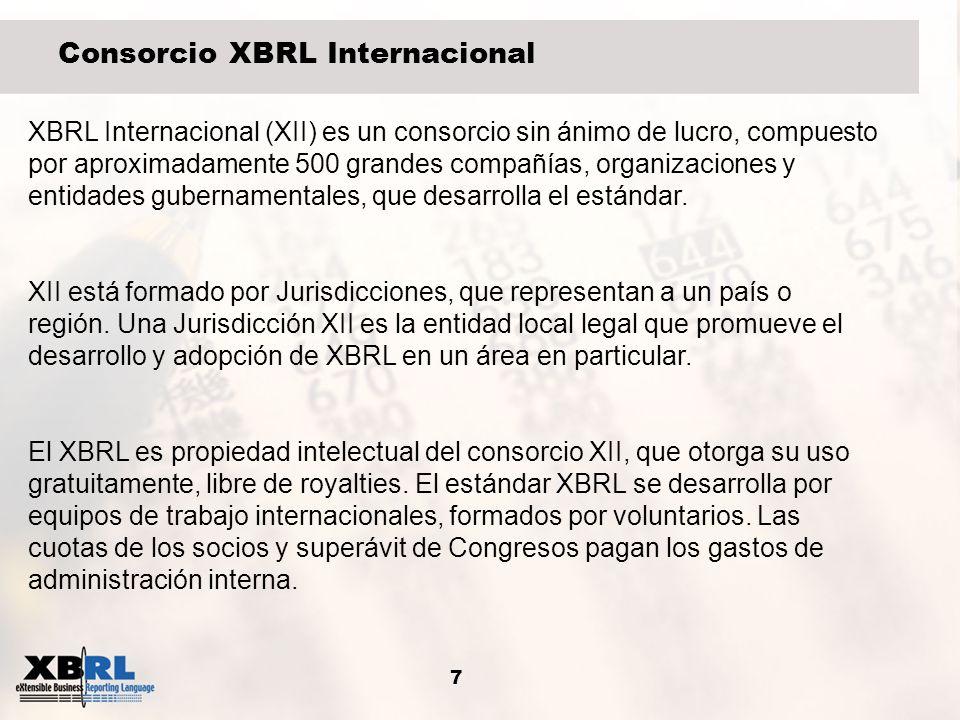 7 XBRL Internacional (XII) es un consorcio sin ánimo de lucro, compuesto por aproximadamente 500 grandes compañías, organizaciones y entidades guberna