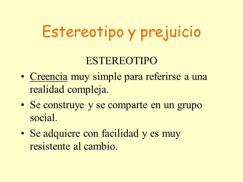 Estereotipo y prejuicio PREJUICIO Actitud que comporta una valoración previa basada en un conocimiento no directo.