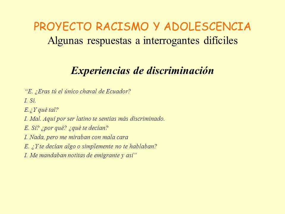 PROYECTO RACISMO Y ADOLESCENCIA Algunas respuestas a interrogantes difíciles Experiencias de discriminación I.