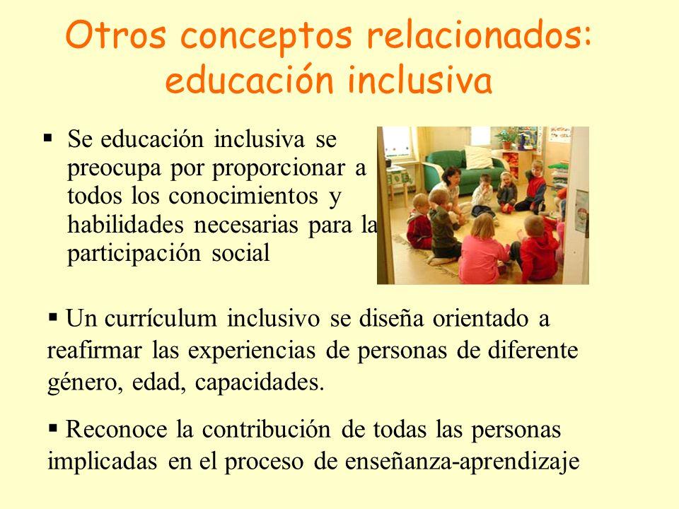 Otros conceptos relacionados: educación inclusiva Se educación inclusiva se preocupa por proporcionar a todos los conocimientos y habilidades necesarias para la participación social Un currículum inclusivo se diseña orientado a reafirmar las experiencias de personas de diferente género, edad, capacidades.