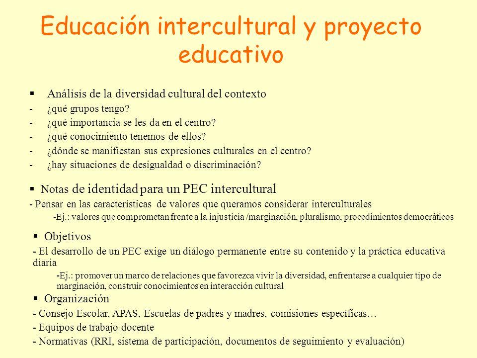 Educación intercultural y proyecto educativo Análisis de la diversidad cultural del contexto -¿qué grupos tengo.