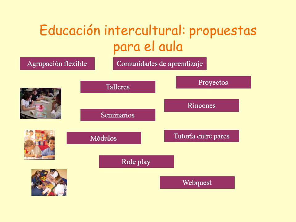 Educación intercultural: propuestas para el aula Agrupación flexibleComunidades de aprendizaje Proyectos Rincones Talleres Seminarios Módulos Tutoría entre pares Role play Webquest