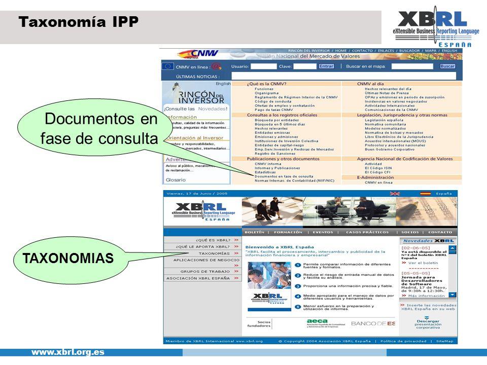 www.xbrl.org.es Taxonomía IPP Documentos en fase de consulta TAXONOMIAS
