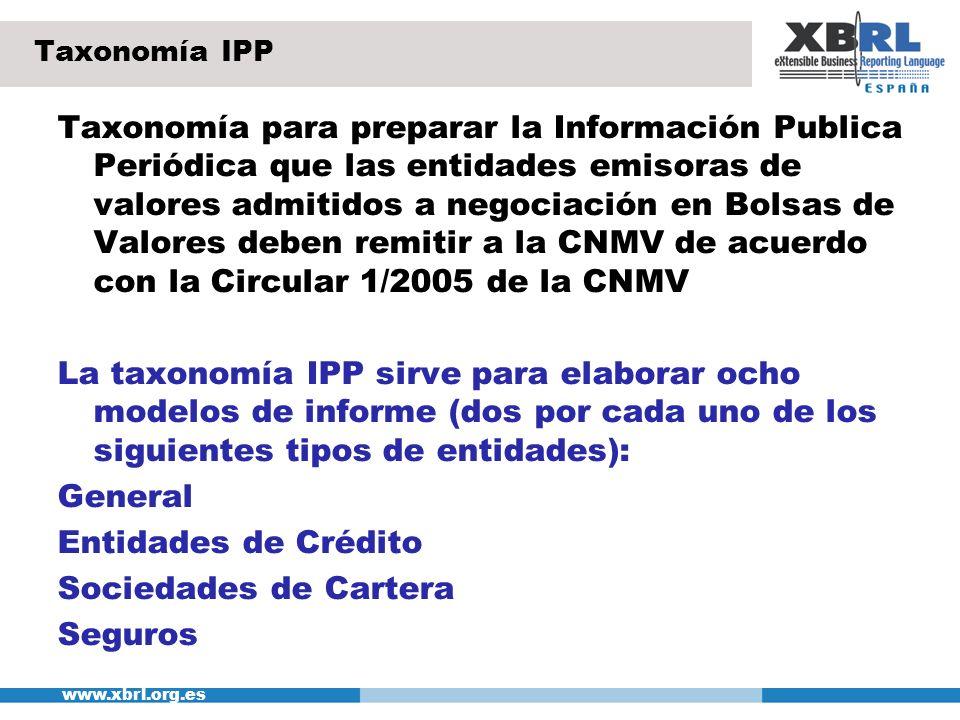 www.xbrl.org.es Taxonomía IPP Taxonomía para preparar la Información Publica Periódica que las entidades emisoras de valores admitidos a negociación e