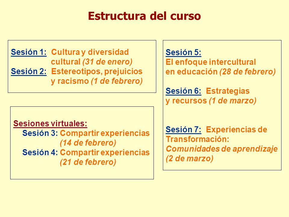 Estructura del curso Sesión 1: Cultura y diversidad cultural (31 de enero) Sesión 2: Estereotipos, prejuicios y racismo (1 de febrero) Sesiones virtua