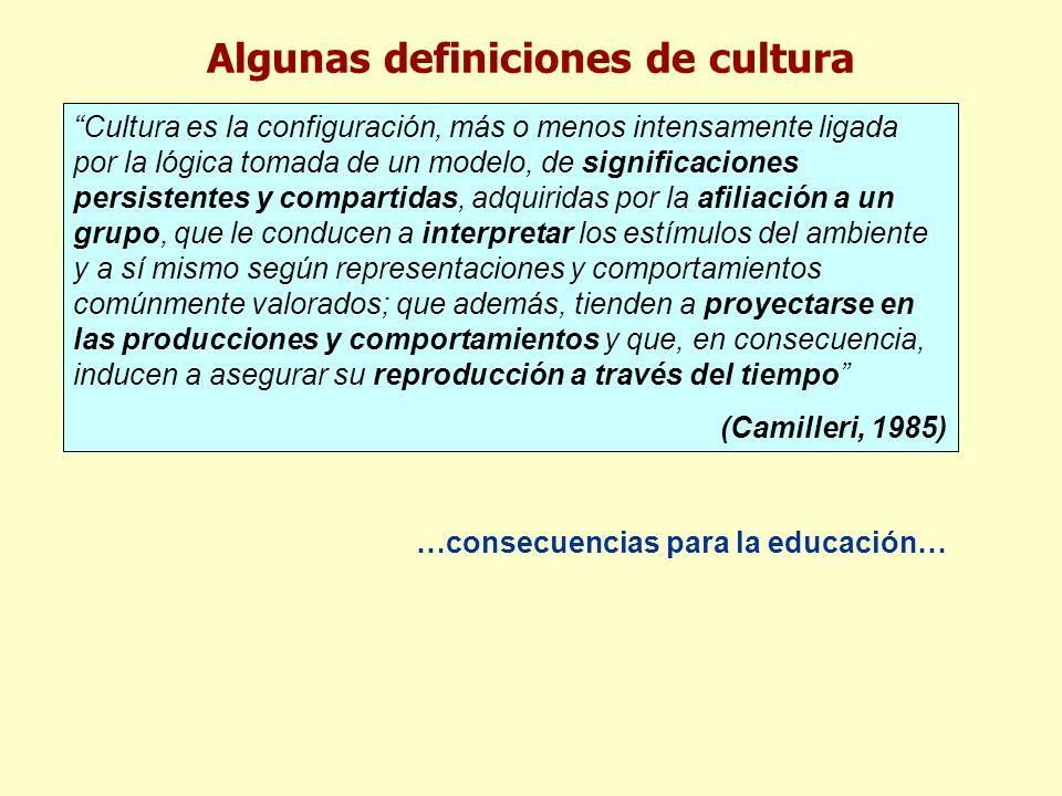 Algunas definiciones de cultura Cultura es la configuración, más o menos intensamente ligada por la lógica tomada de un modelo, de significaciones per