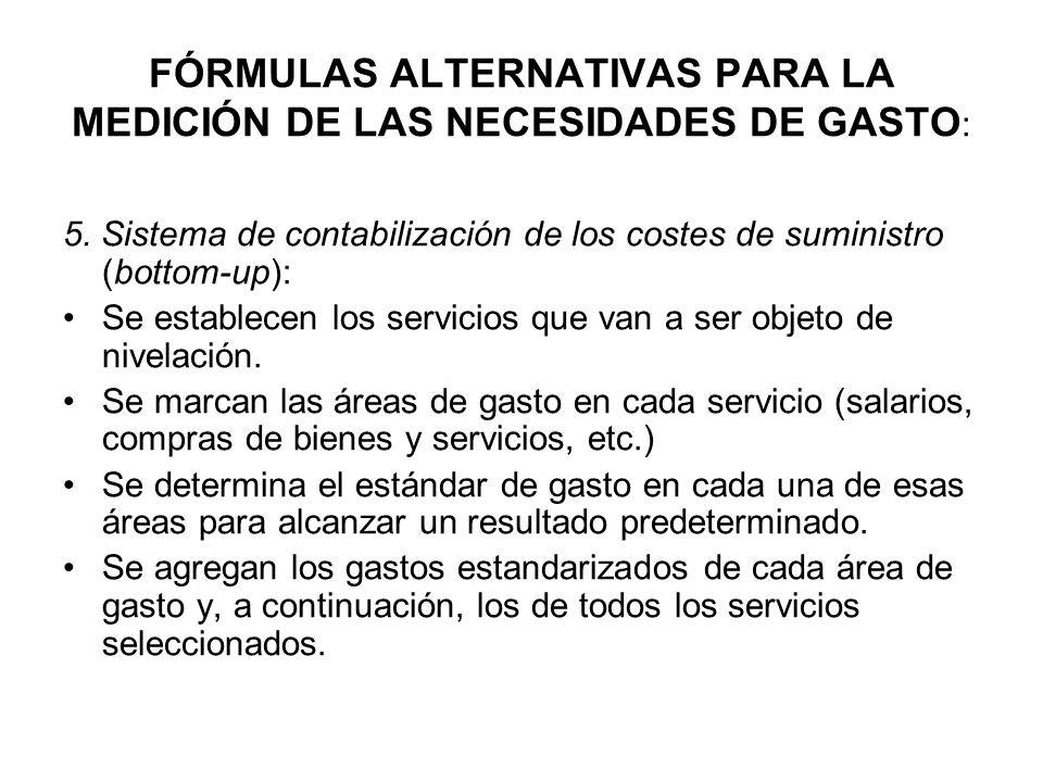 FÓRMULAS ALTERNATIVAS PARA LA MEDICIÓN DE LAS NECESIDADES DE GASTO : 5. Sistema de contabilización de los costes de suministro (bottom-up): Se estable