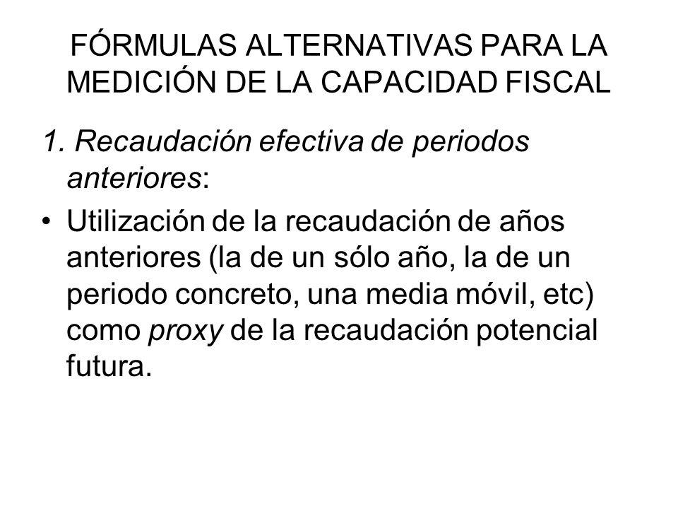 FÓRMULAS ALTERNATIVAS PARA LA MEDICIÓN DE LA CAPACIDAD FISCAL 1. Recaudación efectiva de periodos anteriores: Utilización de la recaudación de años an