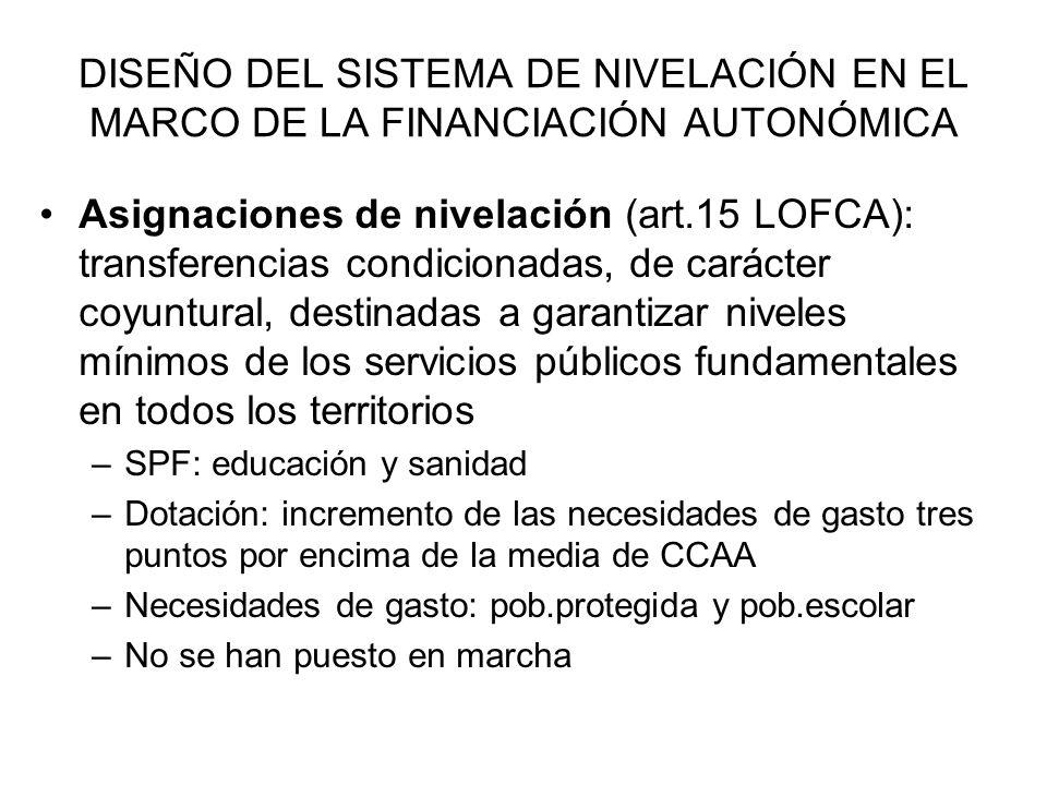 DISEÑO DEL SISTEMA DE NIVELACIÓN EN EL MARCO DE LA FINANCIACIÓN AUTONÓMICA Asignaciones de nivelación (art.15 LOFCA): transferencias condicionadas, de