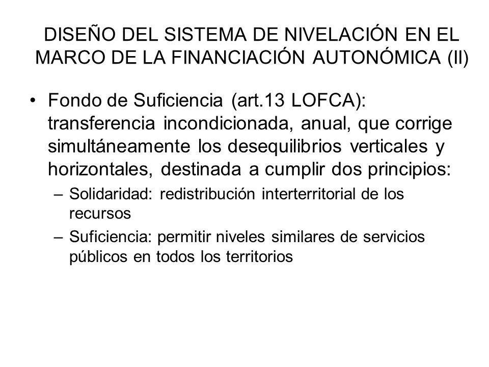 DISEÑO DEL SISTEMA DE NIVELACIÓN EN EL MARCO DE LA FINANCIACIÓN AUTONÓMICA (II) Fondo de Suficiencia (art.13 LOFCA): transferencia incondicionada, anu