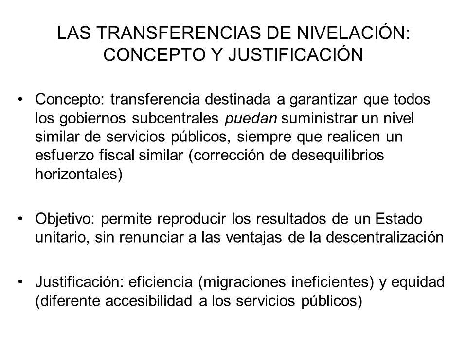 DISEÑO DEL SISTEMA DE NIVELACIÓN EN EL MARCO DE LA FINANCIACIÓN AUTONÓMICA (II) Fondo de Suficiencia (art.13 LOFCA): transferencia incondicionada, anual, que corrige simultáneamente los desequilibrios verticales y horizontales, destinada a cumplir dos principios: –Solidaridad: redistribución interterritorial de los recursos –Suficiencia: permitir niveles similares de servicios públicos en todos los territorios