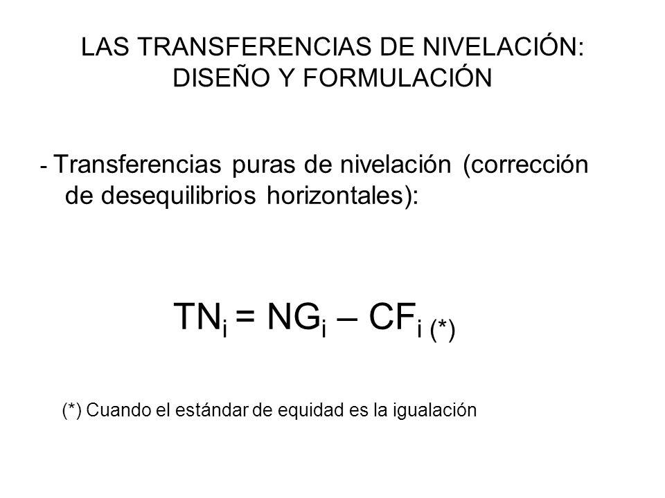 LAS TRANSFERENCIAS DE NIVELACIÓN: DISEÑO Y FORMULACIÓN - Transferencias puras de nivelación (corrección de desequilibrios horizontales): TN i = NG i –