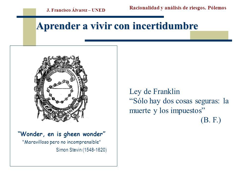 Racionalidad y análisis de riesgos. Pólemos J. Francisco Álvarez – UNED Wonder, en is gheen wonder Maravilloso pero no incomprensible Simon Stevin (15