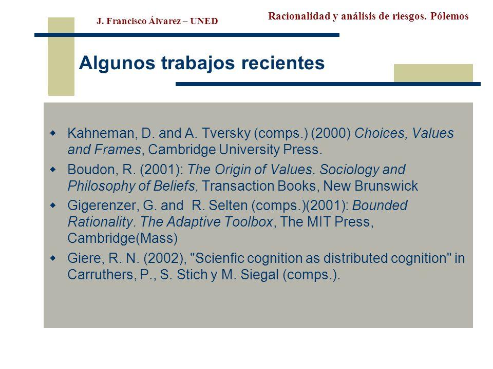 Racionalidad y análisis de riesgos. Pólemos J. Francisco Álvarez – UNED Algunos trabajos recientes Kahneman, D. and A. Tversky (comps.) (2000) Choices