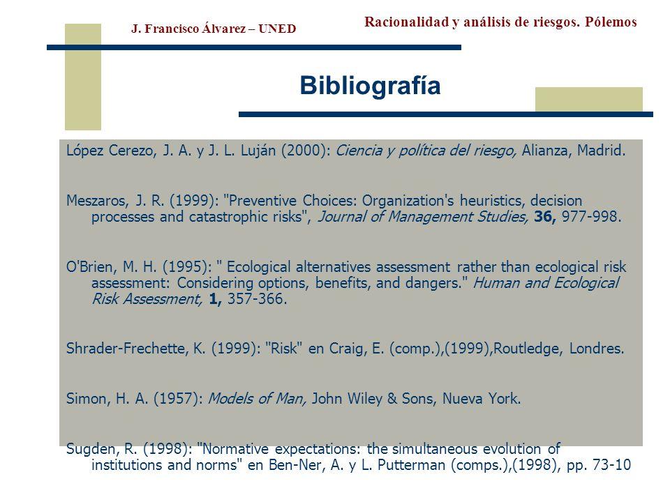 Racionalidad y análisis de riesgos. Pólemos J. Francisco Álvarez – UNED Bibliografía López Cerezo, J. A. y J. L. Luján (2000): Ciencia y política del