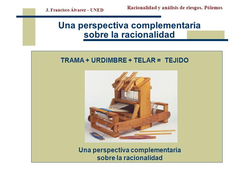 Racionalidad y análisis de riesgos. Pólemos J. Francisco Álvarez – UNED Una perspectiva complementaria sobre la racionalidad TRAMA + URDIMBRE + TELAR