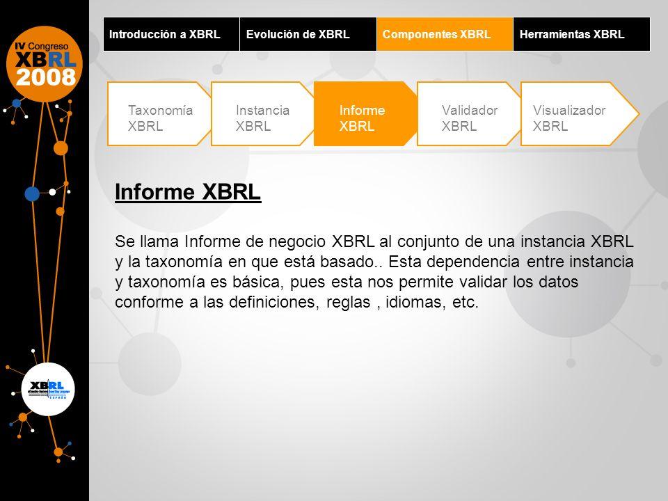 Introducción a XBRLEvolución de XBRLComponentes XBRLHerramientas XBRL Taxonomía XBRL Instancia XBRL Informe XBRL Validador XBRL Visualizador XBRL Info
