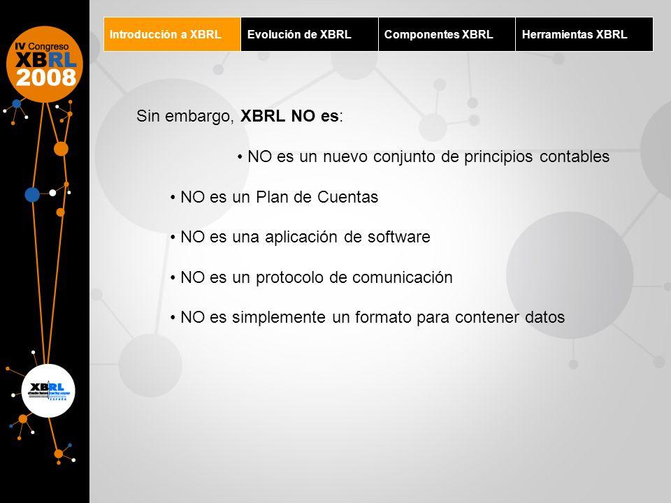 Introducción a XBRLEvolución de XBRLComponentes XBRLHerramientas XBRL Sin embargo, XBRL NO es: NO es un nuevo conjunto de principios contables NO es u