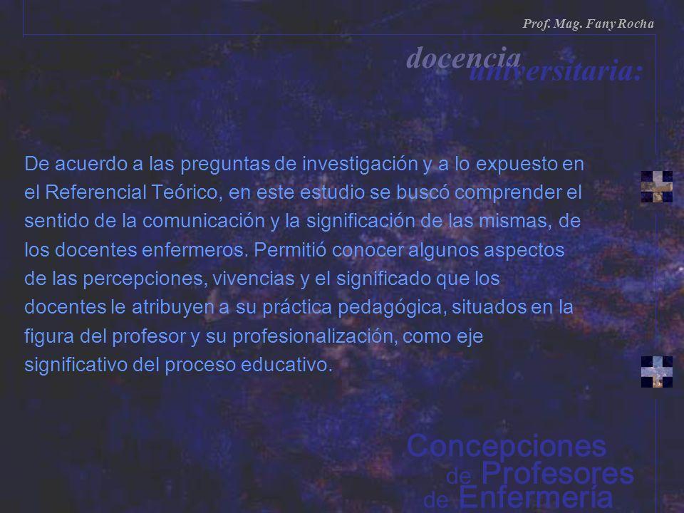 de Enfermería de Profesores Prof. Mag. Fany Rocha docencia universitaria: Concepciones De acuerdo a las preguntas de investigación y a lo expuesto en