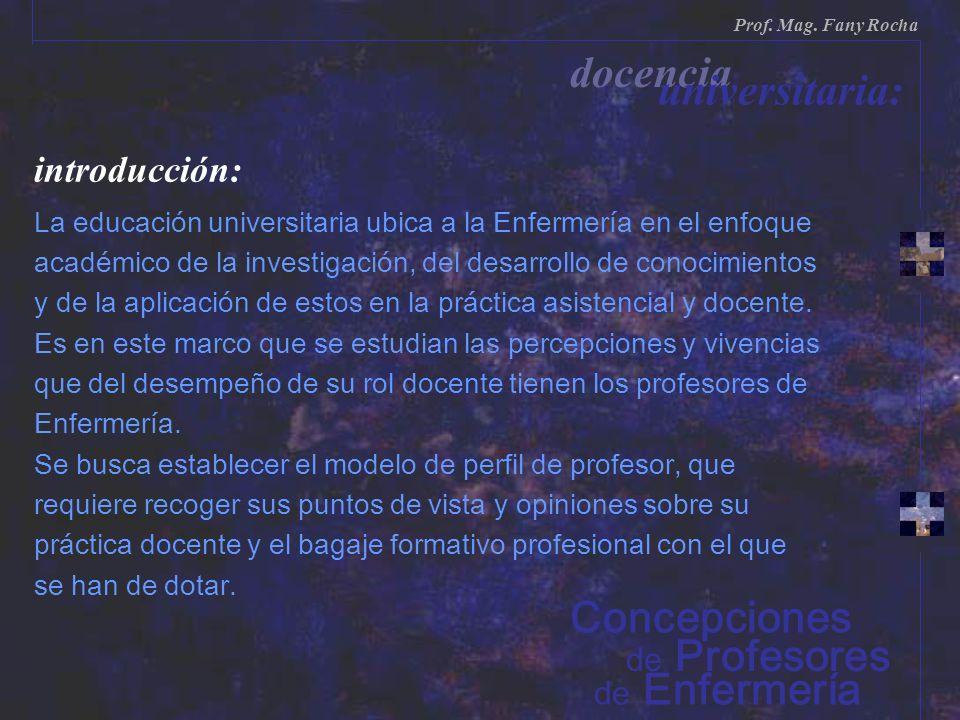 de Enfermería de Profesores Prof. Mag. Fany Rocha docencia universitaria: Concepciones introducción: La educación universitaria ubica a la Enfermería