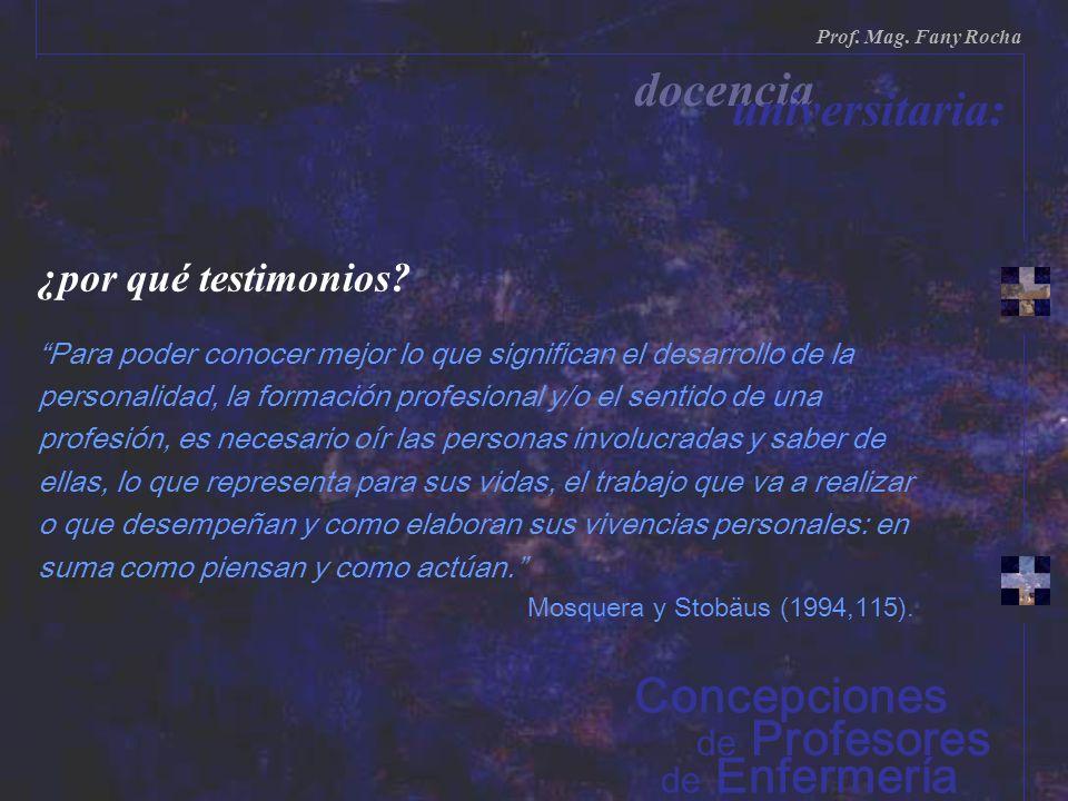 ¿por qué testimonios? Para poder conocer mejor lo que significan el desarrollo de la personalidad, la formación profesional y/o el sentido de una prof